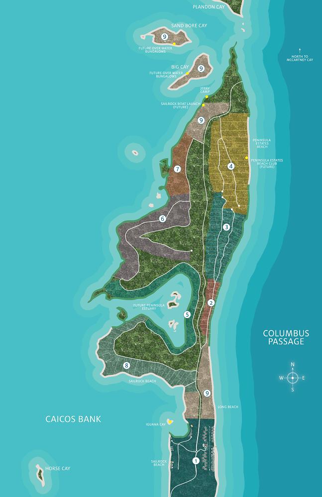 Sailrock South Caicos Island Map